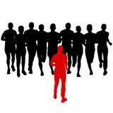Conjunto de siluetas Corredores en sprint, hombres ilustración del vector