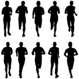 Conjunto de siluetas Corredores en sprint, hombres libre illustration