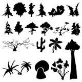 Conjunto de siluetas de árboles Fotos de archivo libres de regalías