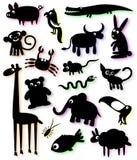 Conjunto de siluetas de animales Foto de archivo