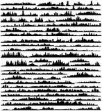 Conjunto de siluetas de ciudades un vector