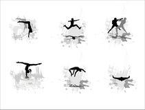 Conjunto de siluetas de deportistas Imagen de archivo libre de regalías