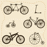 Conjunto de siluetas de la bicicleta Fotos de archivo