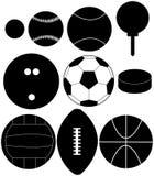 Conjunto de siluetas de la bola de los deportes Fotos de archivo libres de regalías