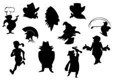 Conjunto de siluetas de la historieta Fotografía de archivo libre de regalías