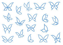 Conjunto de siluetas de la mariposa Imagen de archivo libre de regalías