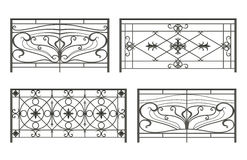 Conjunto de siluetas de las cercas del hierro Fotos de archivo libres de regalías