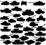 Conjunto de siluetas de los tanques Foto de archivo