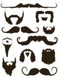 Conjunto de siluetas del bigote y de la barba Fotografía de archivo libre de regalías