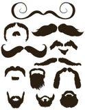 Conjunto de siluetas del bigote y de la barba Imagen de archivo libre de regalías