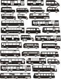 Conjunto de siluetas del omnibus Imagenes de archivo