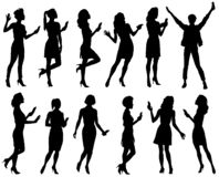 Conjunto de siluetas femeninas ilustración del vector