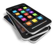 Conjunto de smartphones de la pantalla táctil Foto de archivo