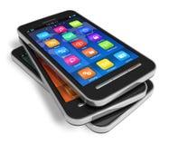 Conjunto de smartphones de la pantalla táctil Fotografía de archivo libre de regalías
