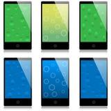 Conjunto de smartphones de la pantalla táctil Imagen de archivo libre de regalías