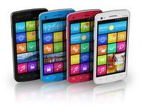 Conjunto de smartphones de la pantalla táctil del color ilustración del vector