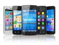 Conjunto de smartphones de la pantalla táctil Foto de archivo libre de regalías