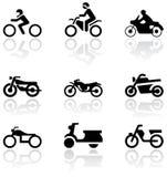 Conjunto de símbolo de la moto. Imagen de archivo
