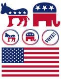 Conjunto de símbolos del partido político de Estados Unidos Fotos de archivo