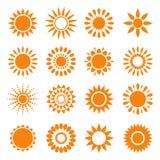 Conjunto de símbolos del sol Fotos de archivo libres de regalías