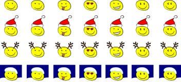 Conjunto de smiley de la Navidad Imagen de archivo libre de regalías