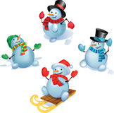 Conjunto de Snowmans Imagen de archivo