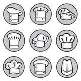 Conjunto de sombreros del cocinero Imágenes de archivo libres de regalías