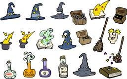 Conjunto de sombreros y de encantos de la bruja Imagenes de archivo