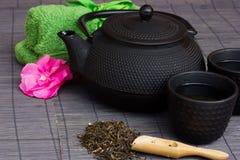 Conjunto de té asiático Foto de archivo libre de regalías