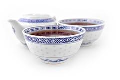 Conjunto de té asiático de la porcelana Fotografía de archivo