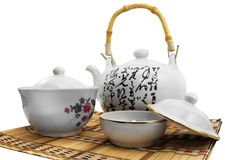 Conjunto de té blanco Fotos de archivo