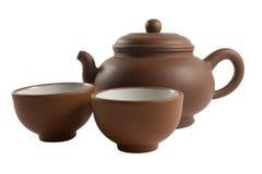Conjunto de té chino aislado Foto de archivo