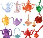 Conjunto de té colorido Imagen de archivo