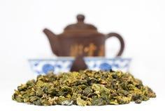 Conjunto de té de Chai contra el contexto de Fotos de archivo libres de regalías