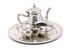 Conjunto de té de plata Fotografía de archivo libre de regalías