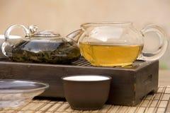 Conjunto de té del chino tradicional Fotografía de archivo
