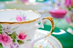 Conjunto de té floral antiguo Imagen de archivo