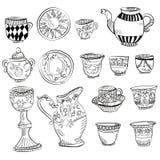 Conjunto de té grande del Victorian Imagenes de archivo