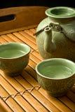 Conjunto de té verde Fotografía de archivo libre de regalías