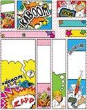 Conjunto de tallas de las banderas del estilo del arte pop de la historieta Fotografía de archivo