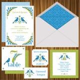 Conjunto de tarjeta de la invitación de la boda Fotografía de archivo