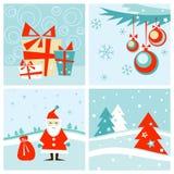 Conjunto de tarjeta de la Navidad y de los Nuevo-Años stock de ilustración