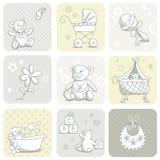 Conjunto de tarjeta del bebé Imagenes de archivo