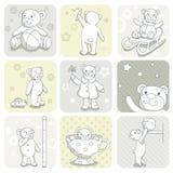 Conjunto de tarjeta del bebé Fotografía de archivo libre de regalías
