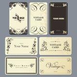 Conjunto de tarjeta en estilo de la vendimia. Fotos de archivo