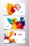 Conjunto de tarjetas coloridas abstractas del regalo del chapoteo. Imagen de archivo libre de regalías
