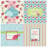 Conjunto de tarjetas coloridas con los elementos de Rose Fotos de archivo