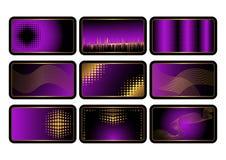 Conjunto de tarjetas de crédito púrpuras. Vector. Foto de archivo libre de regalías