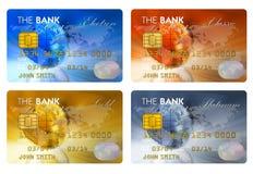 Conjunto de tarjetas de crédito del color Imágenes de archivo libres de regalías