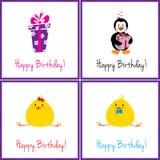 Conjunto de tarjetas de cumpleaños Fotos de archivo libres de regalías